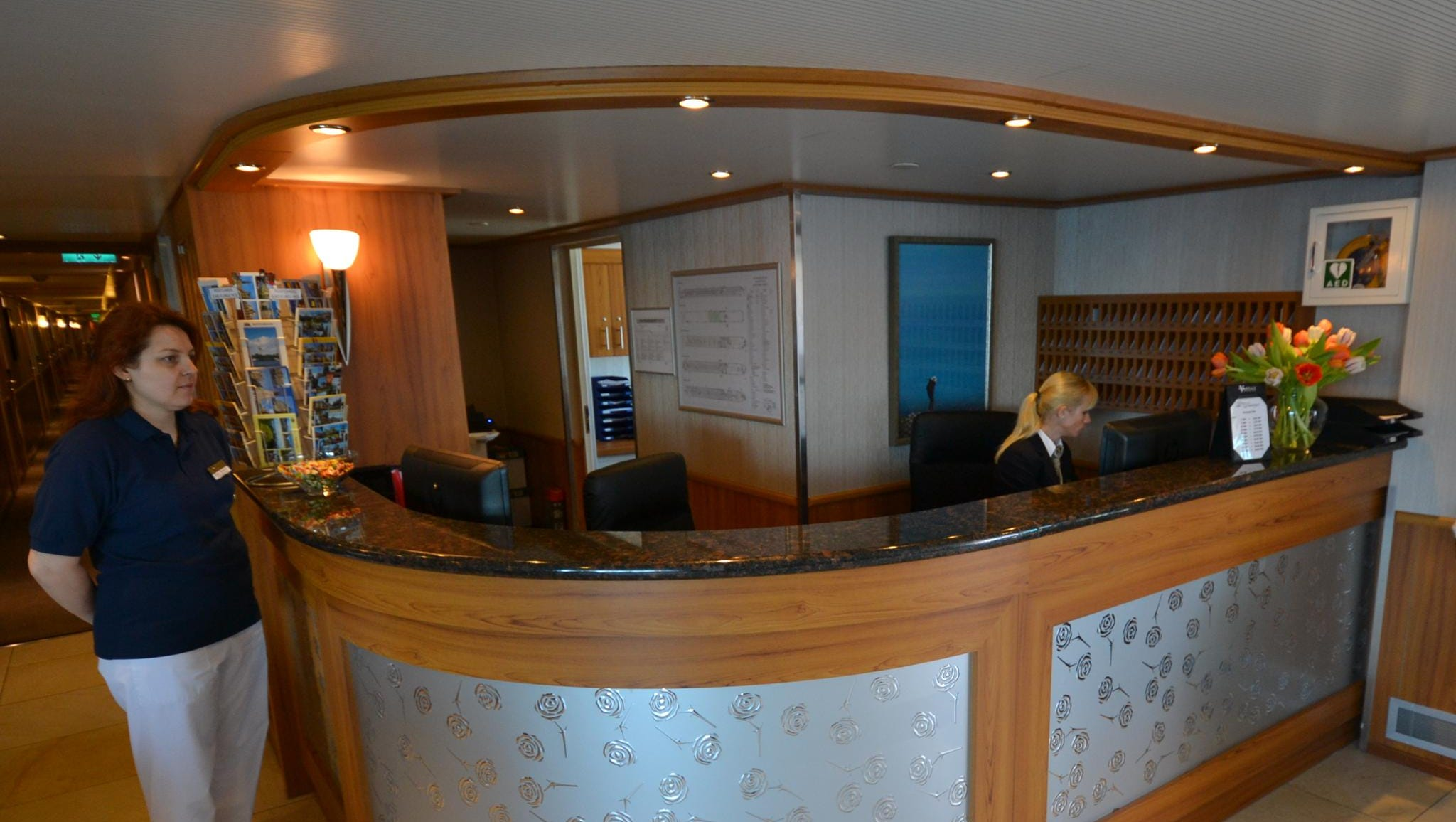 A close-up of the ship's front desk.