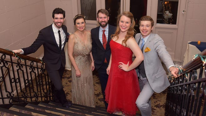"Performing at Tri-Cities Opera's ""BRAVO Broadway"" are, from left, Jake Stamatis, Mary Beth Nelson, Eric David Frei, Abigail Rethwisch and Quinn Bernegger."