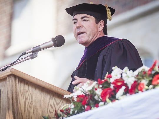 Alumnus John Schnatter addresses Ball State University