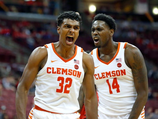Clemson Tigers forward Donte Grantham (32) celebrates