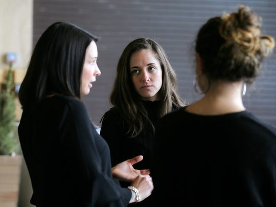 (L-R) Jennifer Chavez, Maggie Brown and Ciara Perrone, co-founders of Babes in Business, talk about their networking organization for women inside the Grand Arcade in Asbury Park, NJ Wednesday January 17, 2018.