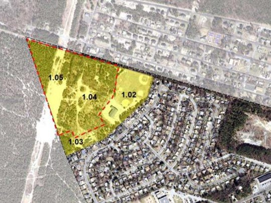 The areas shaded in yellow mark the spot of a redevelopment planned by South Toms River that could add 314 townhomes and apartments to the site of the old borough landfill.