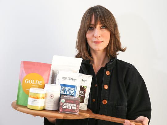 Malissa Lauprete photographed with products from At Land in Dobbs Ferry on Wednesday, December 13, 2017.