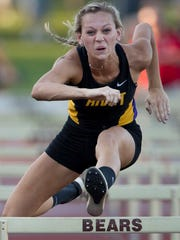 Rivet's Grace Waggoner ran a 15.34 to win the 100 meter high hurdles at the IHSAA Girls Track & Field Regional at Central Stadium in Evansville Tuesday evening.