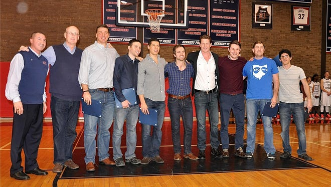Kennedy's 2004 Class B state and federation champion team celebrates 10 years. L-R: Current Kennedy coach and 2004 assistant Al Morales, former head coach and current Brewster coach Tom Nelligan, Dan Gumb, who went on to play for Roger Williams; Mike DeStefano, who played for Fairfield; John Zanzarella; Matty Maher, who played baseball for Fairleigh Dickinson; Joe Weldon, who rowed for Fairfield; Devin Brown; Greg Robstad; and team manager Jamie DeStefano.
