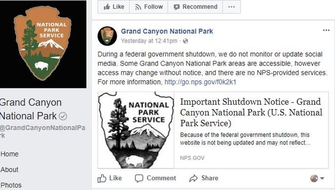 The Grand Canyon posted this message to remind users about the effects of the government shutdown on its social media platforms.