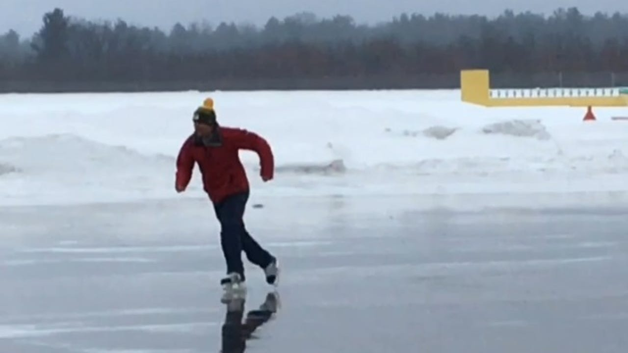Steve Gering skates on the apron of the Wausau Downtown Airport Tuesday morning after an overnight ice storm.