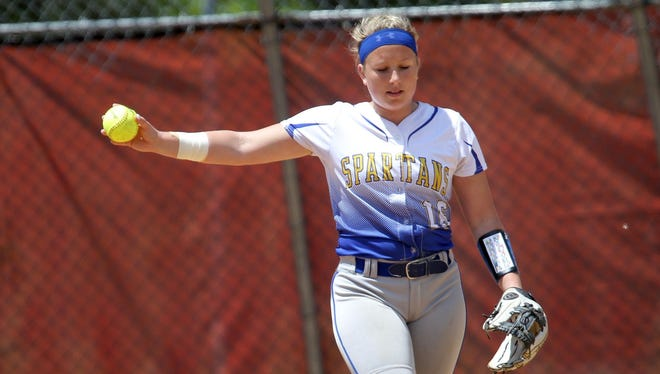 Emily Hess takes a moment inside the circle during Saturday's Class AA state softball quarterfinal against Lakeland.