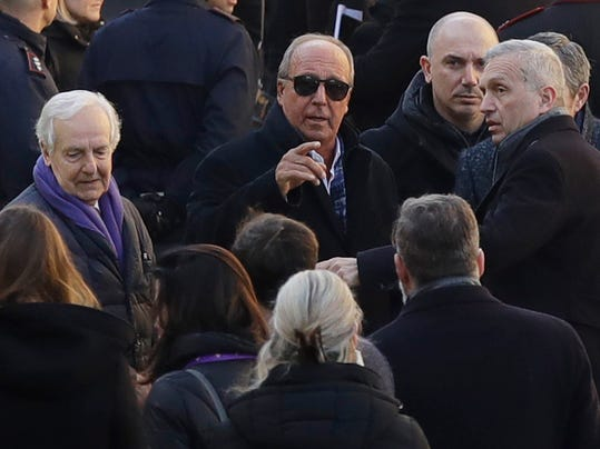 Italy's former coach Gian Piero Ventura arrives for the funeral ceremony of Italian player Davide Astori in Florence, Italy, Thursday, March 8, 2018. The 31-year-old Astori was found dead in his hotel room on Sunday after a suspected cardiac arrest before his team was set to play an Italian league match at Udinese. (AP Photo/Alessandra Tarantino)