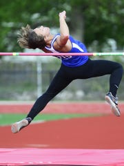 Clyde's Paula Wollenslegel competes in the high jump as a senior.