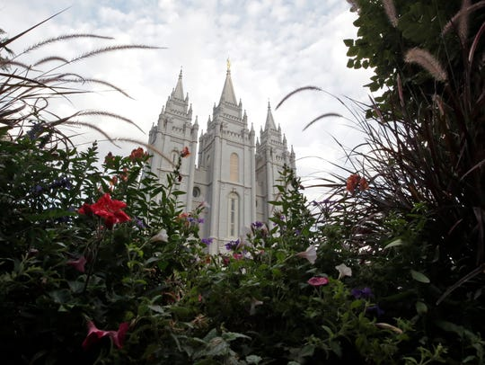 The Salt Lake Temple is shown in Salt Lake City. The