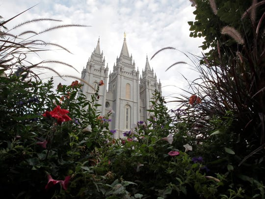 The Salt Lake Temple is shown in Salt Lake City.