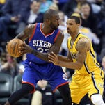 Mar 1, 2015; Indianapolis, IN, USA; Philadelphia 76ers forward Jason Richardson (23) is guarded by Indiana Pacers guard George Hill (3) at Bankers Life Fieldhouse. Indiana defeats Philadelphia 94-74. Mandatory Credit: Brian Spurlock-USA TODAY Sports