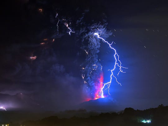 View from Frutillar, southern Chile, of lava spewing