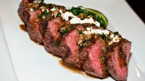 Avenue Eat & Drink's grilled shoulder loin of beef with boursin herb-garlic cheese, demi-glace.
