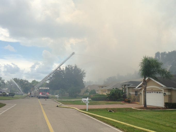 Bonita and estero fire fight a brush fire in the fountain lakes community.