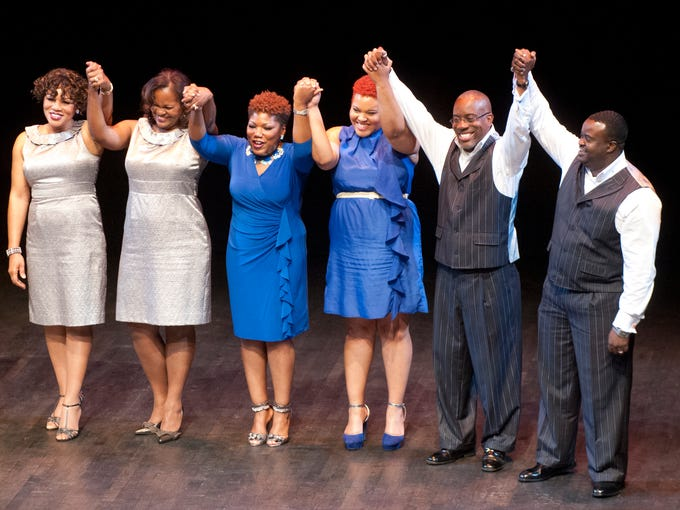 "L-R: Made New's Bettye Wise, Rhonda Ray, Makayla Wise, Erica Goodman, Kenneth Ray and Troy Marable, celebrate their victory in the A Cappella sing off, ""Perfect Pitch"" at Sen. Gerald and Kathy Neal's ""Annual Derby Soiree"" at the Kentucky Center for the Arts. The party benefits the Kentucky Minority Scholarship Fund. 02 May 2014"
