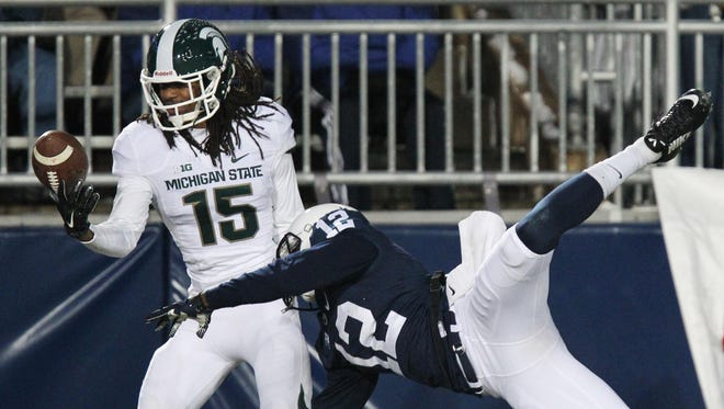 Michigan State CB Trae Waynes picks off a pass against Penn State.