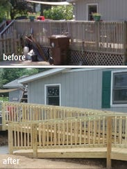 Before and after photos of a deck and ramp rebuilt