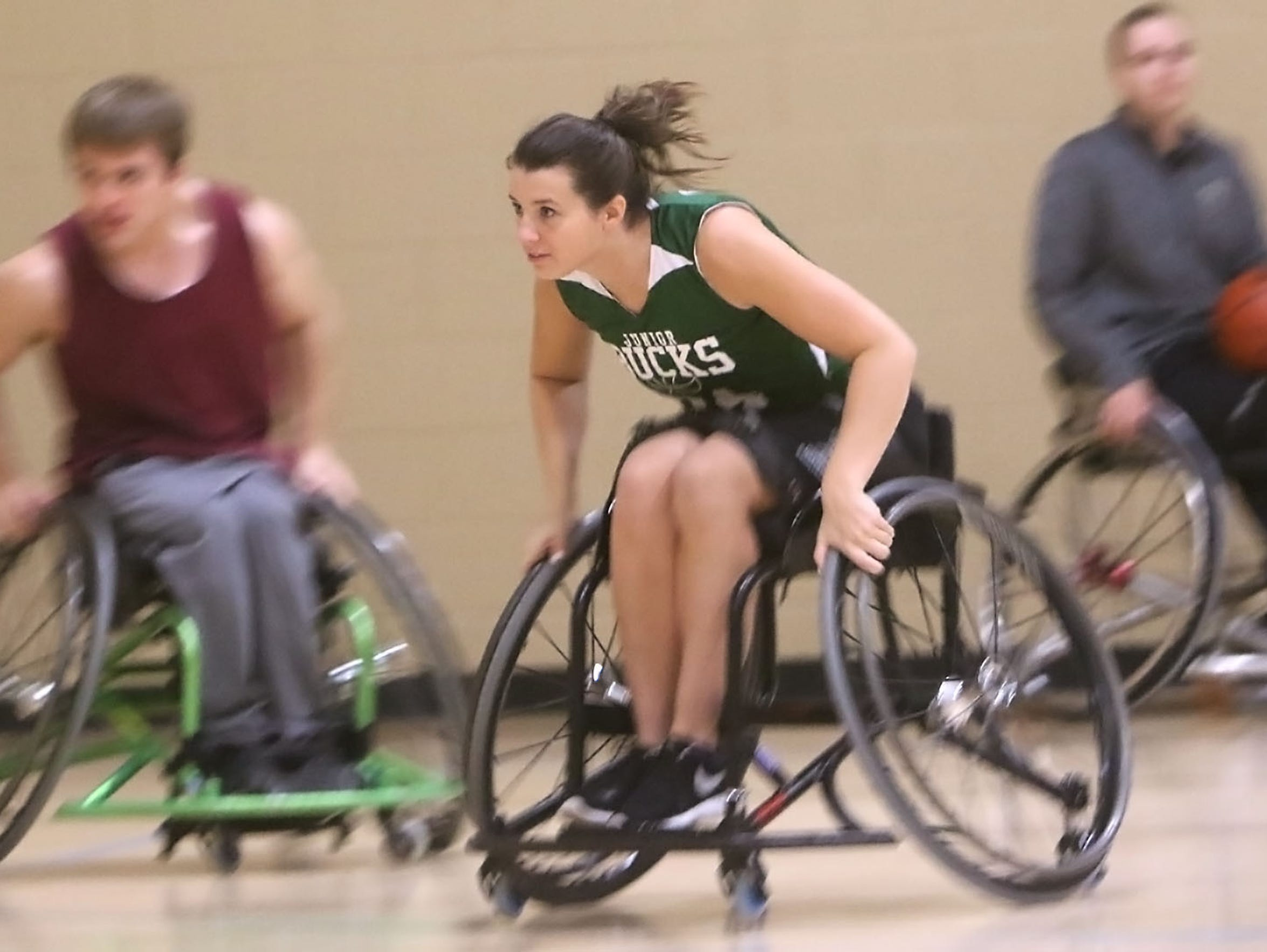 Emily Oberst takes part in a Milwaukee Wheelchair Bucks