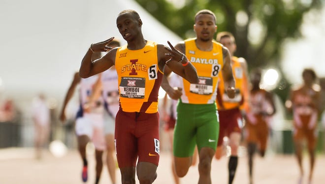 Iowa State's Edward Kemboi celebrates as he finishes first in the 800-meter run on Sunday, May 17, 2015, during the 2015 Big 12 Outdoor Track & Field Championships held at Iowa State University.