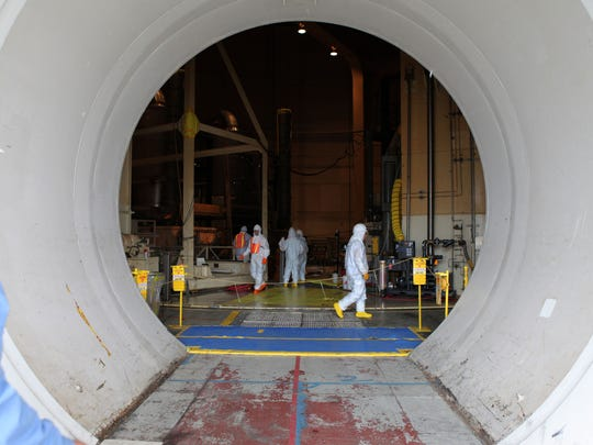 The Indian Point 2 reactor dome opening, which is the equipment hatch used for refueling and maintenance, is photographed at the Indian Point Nuclear Generating Station in Buchanan.