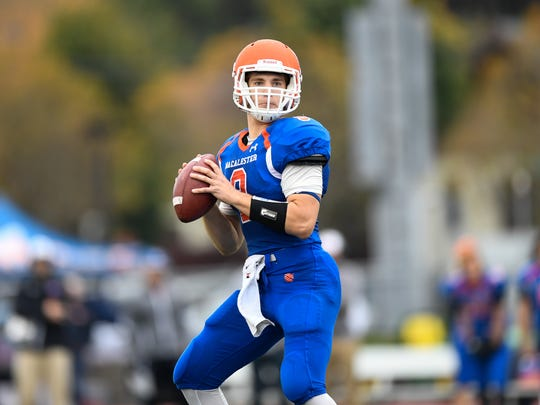 Former Pineville and current Macalester College quarterback Christian Adams (9) throws a pass against Ripon in Octobet 2017.