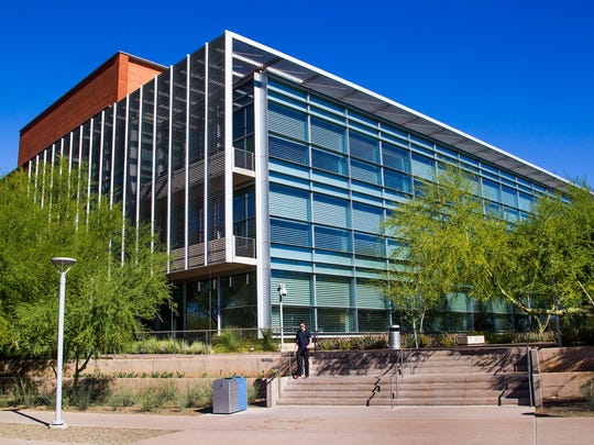 This is the exterior of the Arizona State University Biodesign Institute on campus in Tempe.