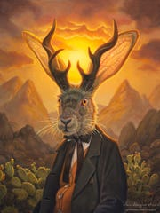 "Webster-based artist Allen Douglas had his ""Mr. Jackalope"" illustration featured on a recent Collective Arts Brewing label."