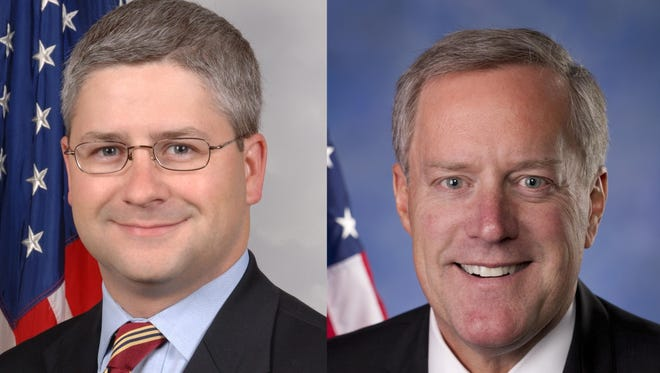 U.S. Rep. Patrick McHenry, left, and U.S. Rep. Mark Meadows