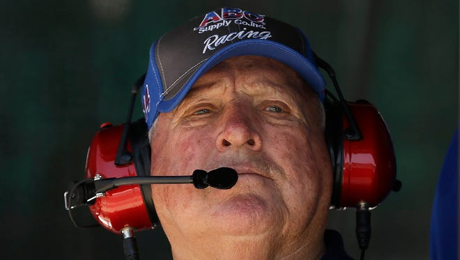 Team owner A.J. Foyt watches his drivers during practice for the Indianapolis 500 on Monday, May 23, 2016, afternoon at the Indianapolis Motor Speedway.