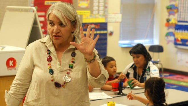 Teacher Dalila Gutierrez teaches at Columbus Elementary School on the first day of its K-3 Plus program, June 24.