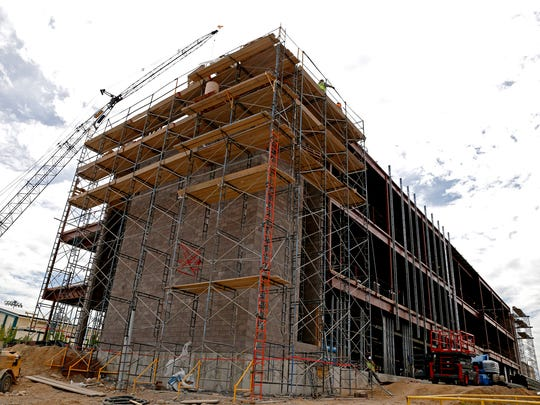 Construction continues on the new Farmington High School project in this Aug. 31 photo.