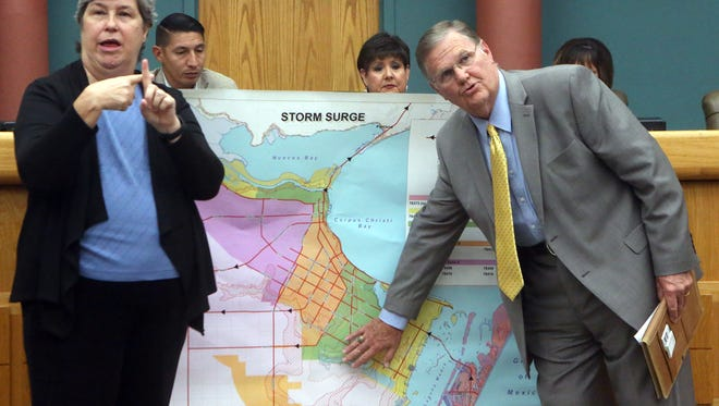 Mayor Joe McComb talks about storm surge in the Corpus Christi area and Hurricane Harvey during a news conference on Thursday, Aug. 24, 2017, at the Corpus Christi City Hall in Corpus Christi.