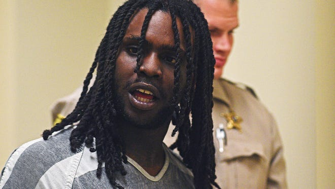 Chicago rapper Keith Cozart, known as Chief Keef, is escorted into Minnehaha County Court Tuesday, June 13, 2017, in Sioux Falls.