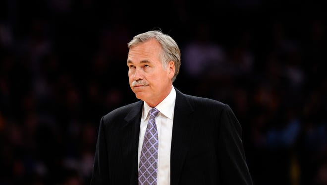 Apr 13, 2014: Los Angeles Lakers head coach Mike D'Antoni during a timeout against the Memphis Grizzlies at Staples Center.