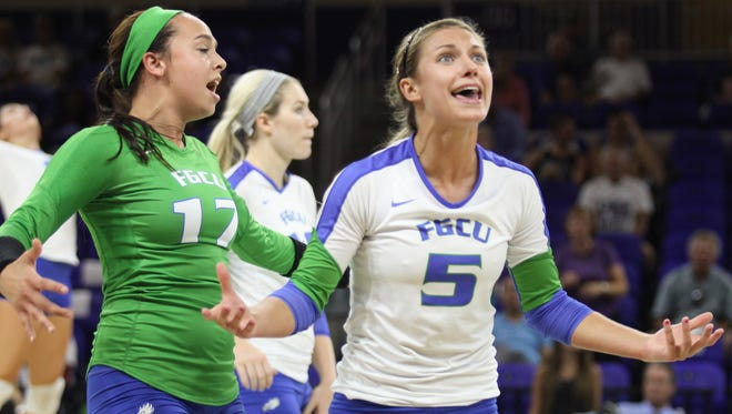 FGCU's Gigi Meyer and Whitney Masters react after a call in favor of  Lipscomb at Alico Arena on Friday night.