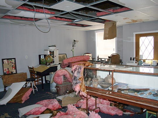 Some of the damage inside the Baxter County Heritage Museum after the tornado on Feb. 6, 2008 struck Gassville.