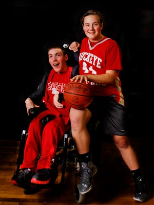 Colin and Emma Studer pose together for a picture. Colin was diagnosed with cerebral palsy as an infant, and was the biggest fan of Buckeye Central High School sports. He died unexpectedly Tuesday night.