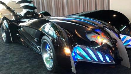 """The Batmobile from 1997's """"Batman & Robin"""" is on display at the Children's Museum of Indianapolis as part of the DC Super Heroes, which opens June 16."""