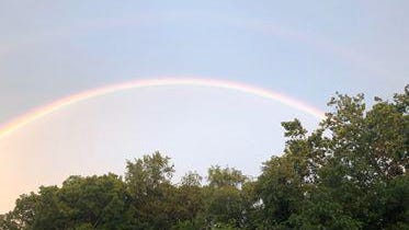 The heavy rains that hit the area Tuesday left a rainbow. Cindy Kaye Scott took this photo at 8:41 that she submitted.