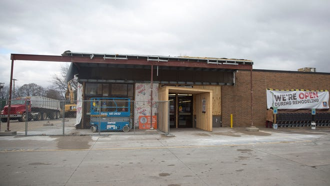 Construction crews continue to work on ALDI's Muncie location at 3221 S. Madison St.as it undergoes a $1.2 million remodel and expansion. The renovations are in line with the company's $1.6 billion nationwide plan to update more than 1,300 United States ALDI stores by 2020.
