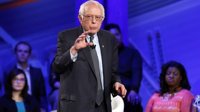 Democratic presidential candidate, Sen. Bernie Sanders, I-Vt., speaks during a CNN town hall at Drake University in Des Moines, Iowa, Monday, Jan. 25, 2016. (AP Photo/Patrick Semansky)
