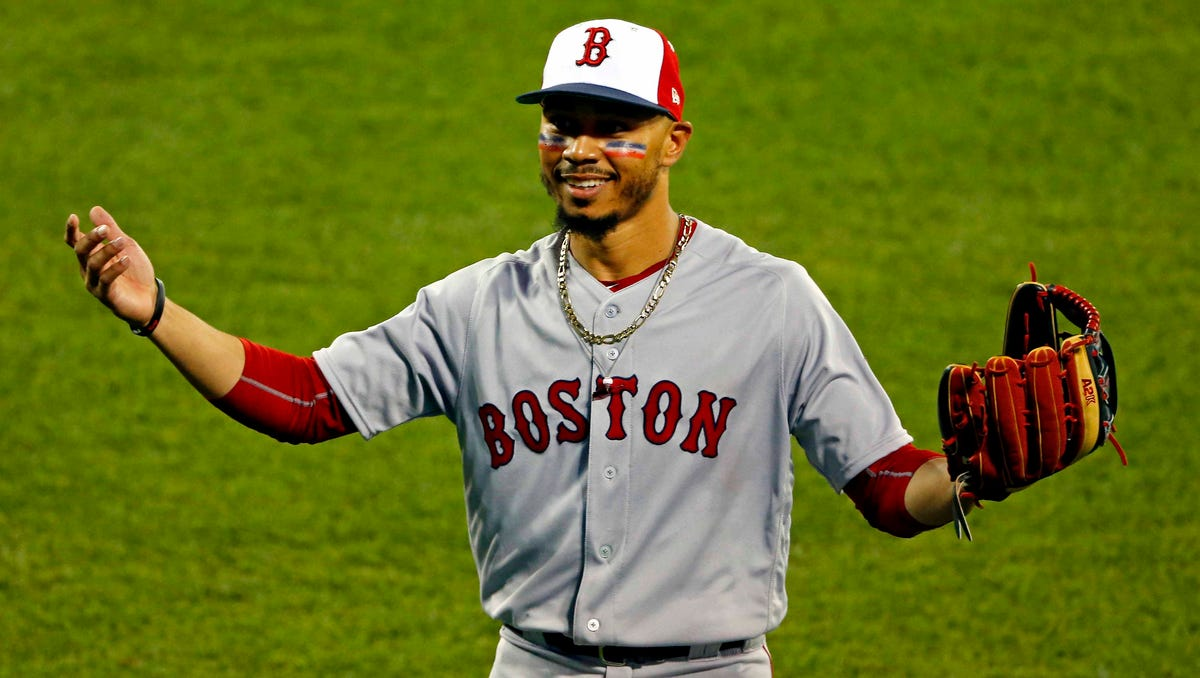 American League outfielder Mookie Betts of the Boston Red Sox (50) reacts during the second inning in the 2018 MLB All Star Game at Nationals Ballpark on July 17, 2018.