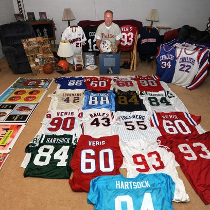 Bruce Caplinger has a large collection of jerseys,