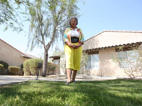 Lynne Joy Rogers believes her community could do more to help conserve water, including removing this small patch of grass near her residence in La Quinta.