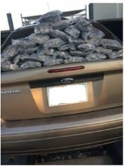 Methamphetamine on top of a 2005 Ford Focus, whose driver was arrested Aug. 5 at a checkpoint on Highway 86.