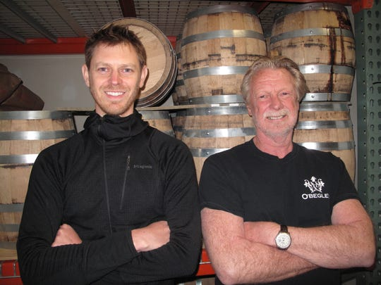 Adam Begley, left, and Jim Begley at their O'Begley Distillery in Pittsford. The father-son duo drew inspiration from their Irish heritage to create traditional Irish-style whiskey.