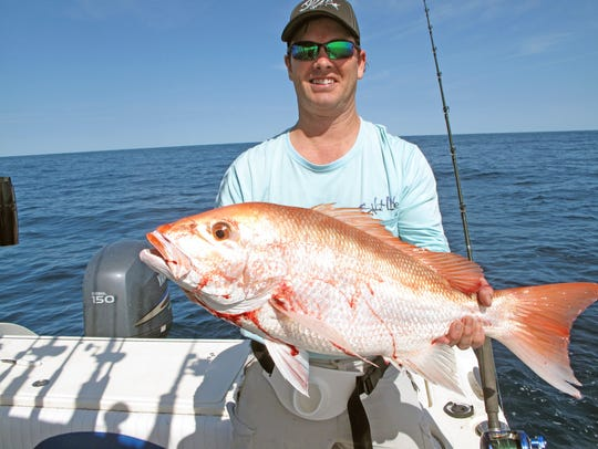 Tim Hervey caught this nice red snapper while fishing
