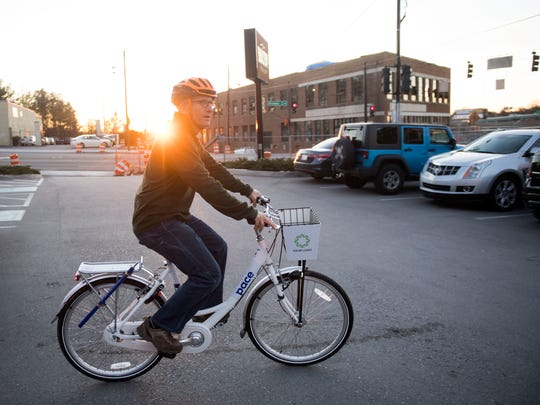 "Jeff Shmerler tests on the Pace bicycles on Wednesday, January 31, 2018. Shmerler rides almost every day and commutes by bicycle. ""You're not going to break speed records on it, but it's good,"" said Shmerler of his test ride."